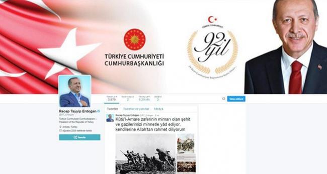 Cumhurbaşkanı Erdoğan'dan 19.16'da Kut'ül Amare mesajı