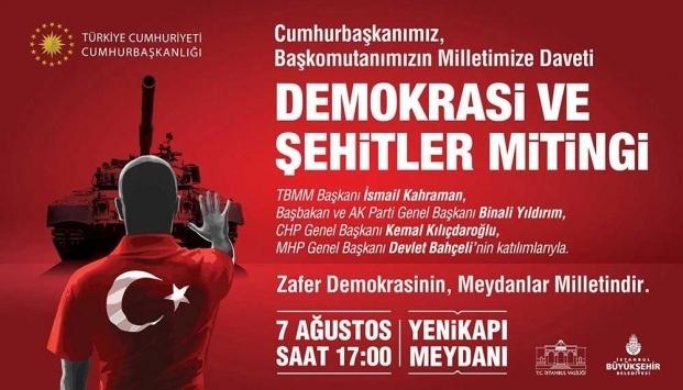 Demokrasi ve Şehitler Mitingi için son hazırlıklar yapılıyor
